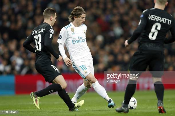 Giovani Lo Celso of Paris SaintGermain Luka Modric of Real Madrid Marco Verratti of Paris SaintGermain during the UEFA Champions League round of 16...