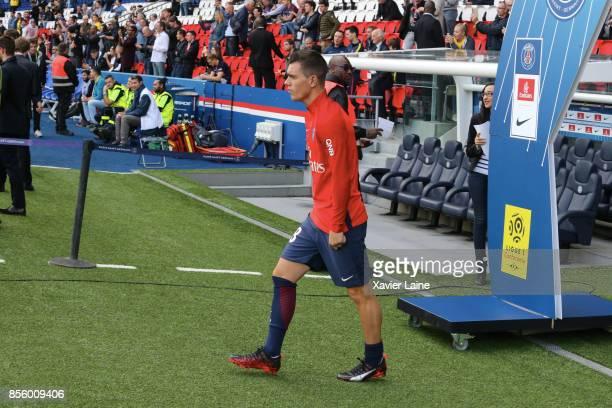Giovani Lo Celso of Paris SaintGermain reacts during the Ligue 1 match between Paris SaintGermain and FC Girondins de Bordeaux at Parc des Princes on...