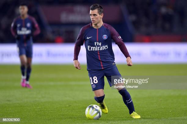 Giovani Lo Celso of Paris SaintGermain runs with the ball during the Ligue 1 match between Paris Saint Germain and Troyes AC at Parc des Princes on...