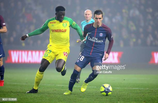 Giovani Lo Celso of PSG Abdoulaye Toure of FC Nantes during the French Ligue 1 match between FC Nantes and Paris Saint Germain at Stade de la...