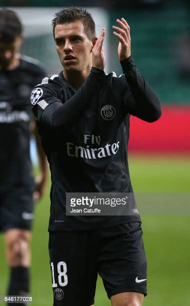Giovani Lo Celso of PSG applauds the fans following the UEFA Champions League match between Celtic Glasgow and Paris Saint Germain at Celtic Park on...