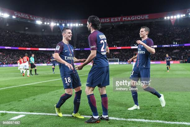 Giovani Lo Celso of PSG celebrates his goal with Javier Pastore and Julian Draxler during the Ligue 1 match between Paris Saint Germain PSG and AS...