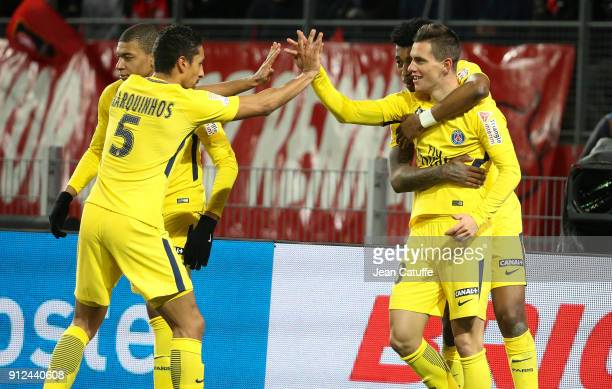 Giovani Lo Celso of PSG celebrates his goal with Marquinhos Kylian Mbappe Presnel Kimpembe during the French League Cup match between Stade Rennais...