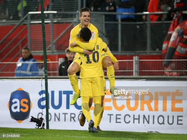 Giovani Lo Celso of PSG celebrates his goal with Neymar Jr during the French League Cup match between Stade Rennais and Paris Saint Germain at...