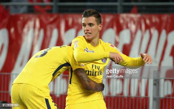 Giovani Lo Celso of PSG celebrates his goal with Presnel Kimpembe during the French League Cup match between Stade Rennais and Paris Saint Germain at...