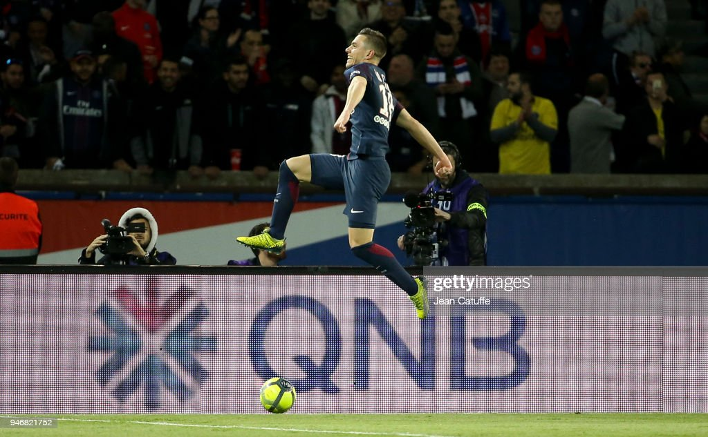Giovani Lo Celso of PSG celebrates scoring his first goal during the Ligue 1 match between Paris Saint Germain (PSG) and AS Monaco (ASM) at Parc des Princes stadium on April 15, 2018 in Paris, .