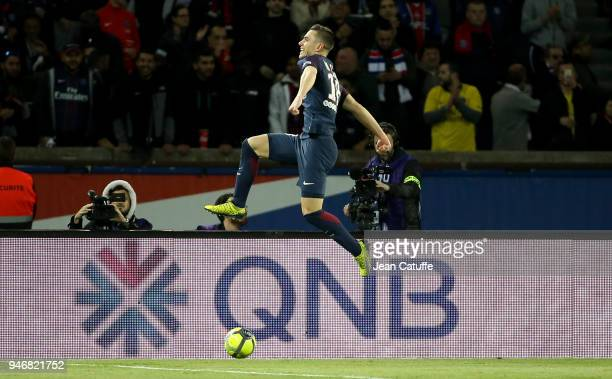 Giovani Lo Celso of PSG celebrates scoring his first goal during the Ligue 1 match between Paris Saint Germain and AS Monaco at Parc des Princes...