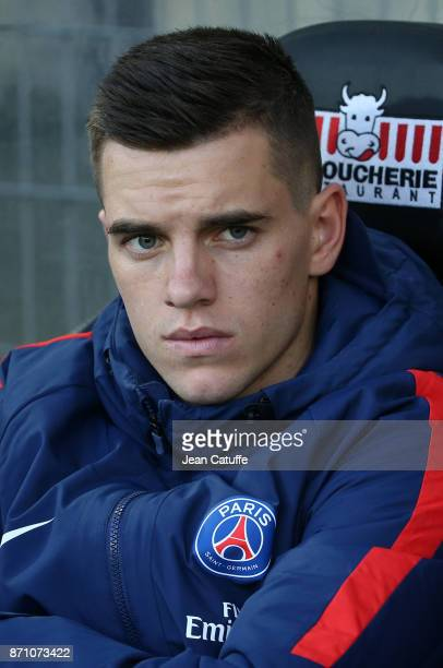 Giovani Lo Celso of PSG sits on the bench during the French Ligue 1 match between Angers SCO and Paris Saint Germain at Stade Raymond Kopa on...