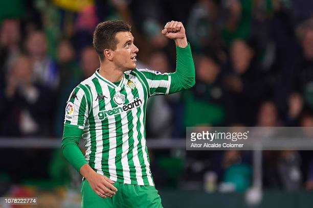 Giovani Lo Celso of Real Betis Balompie celebrates after scoring during the Copa del Rey match between Real Betis and Racing de Santander at Estadio...