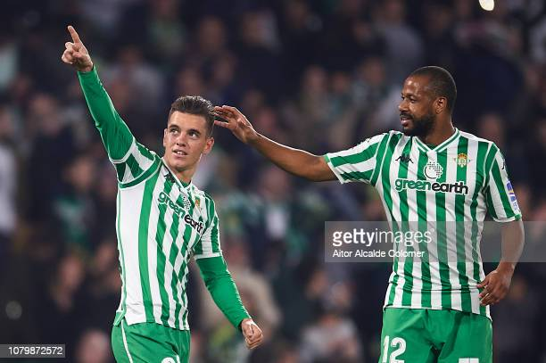 Giovani Lo Celso of Real Betis Balompie celebrates after scoring during the La Liga match between Real Betis Balompie and Rayo Vallecano de Madrid at...