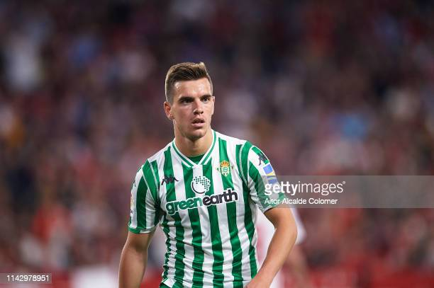 Giovani Lo Celso of Real Betis Balompie looks on during the La Liga match between Sevilla FC and Real Betis Balompie at Estadio Ramon Sanchez Pizjuan...