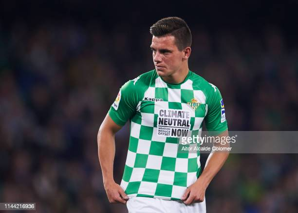 Giovani Lo Celso of Real Betis Balompie reacts during the La Liga match between Real Betis Balompie and Valencia CF at Estadio Benito Villamarin on...