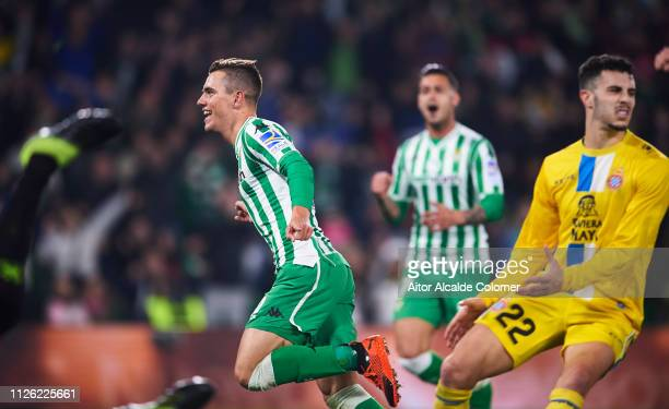Giovani Lo Celso of Real Betis celebrates after scoring goal during the Copa del Quarter Final match between Real Betis Balompie and RCD Espanyol at...