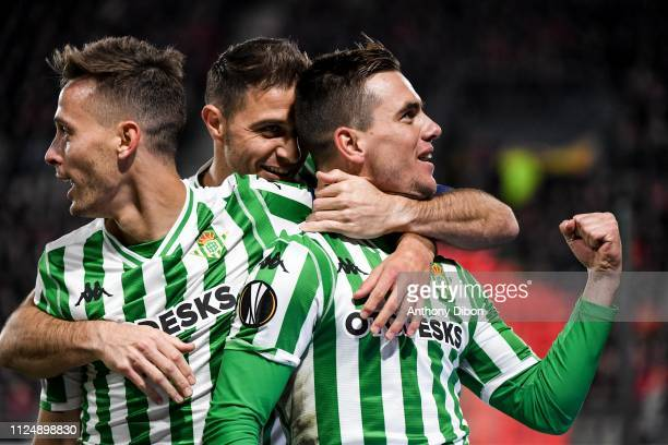 Giovani Lo Celso of Real Betis celebrates his goal during the UEFA Europa League Round of 32 First Leg match between Rennes and Real Betis at Roazhon...