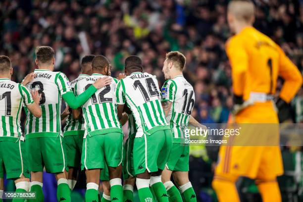 Giovani Lo Celso of Real Betis Javi Garcia of Real Betis Junior Firpo of Real Betis Sidnei of Real Betis Joaquin of Real Betis William Carvalho of...