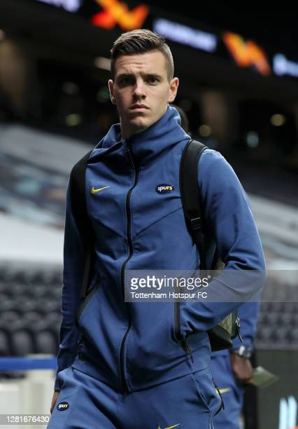 Giovani Lo Celso of Tottenham Hotspur arrives at the stadium prior to the UEFA Europa League Group J stage match between Tottenham Hotspur and LASK...
