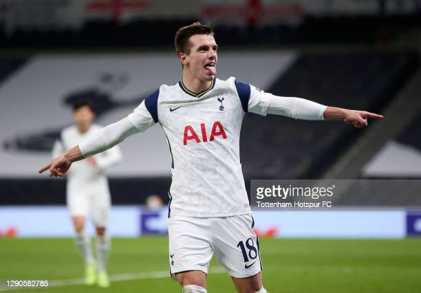 Giovani Lo Celso of Tottenham Hotspur celebrates after he scores their team's second goal during the UEFA Europa League Group J stage match between...