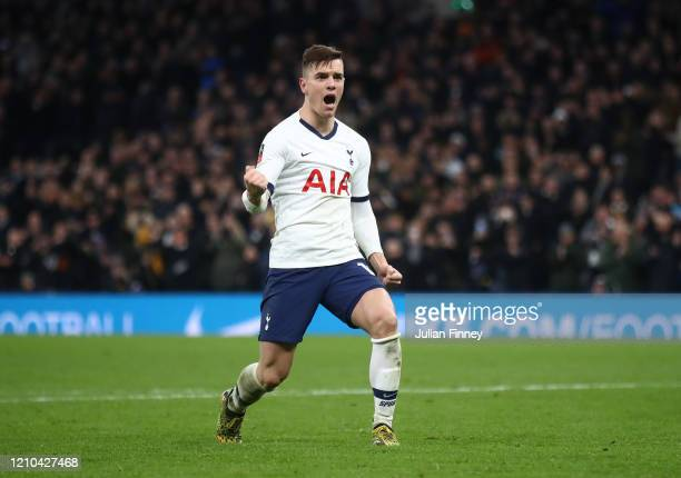 Giovani Lo Celso of Tottenham Hotspur celebrates after scoring a penalty in the penalty shootout during the FA Cup Fifth Round match between...