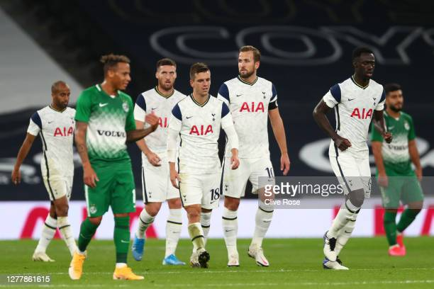 Giovani Lo Celso of Tottenham Hotspur celebrates after scoring his sides third goal during the UEFA Europa League playoff match between Tottenham...