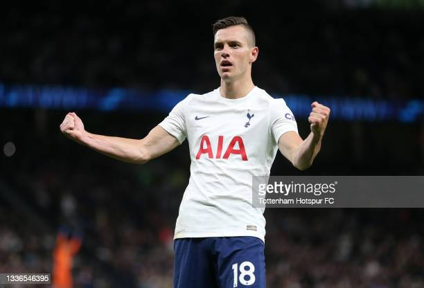 Giovani Lo Celso of Tottenham Hotspur celebrates after scoring their team's third goal during the UEFA Conference League Play-Offs Leg Two match...