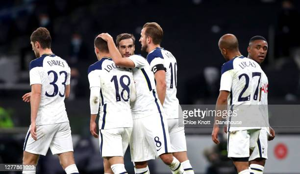 Giovani Lo Celso of Tottenham Hotspur celebrates scoring his teams third goal during the UEFA Europa League playoff match between Tottenham Hotspur...