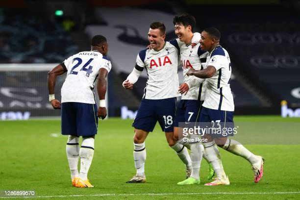 Giovani Lo Celso of Tottenham Hotspur celebrates with teammate Serge Aurier, Heung-Min Son and Steven Bergwijn after scoring his team's second goal...