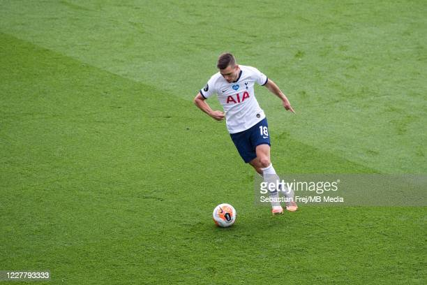 Giovani Lo Celso of Tottenham Hotspur controls the ball during the Premier League match between Crystal Palace and Tottenham Hotspur at Selhurst Park...