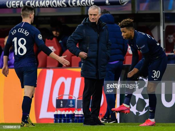 Giovani Lo Celso of Tottenham Hotspur FC coach Jose Mourinho of Tottenham Hotspur FC Gedson Fernandes of Tottenham Hotspur during the UEFA Champions...
