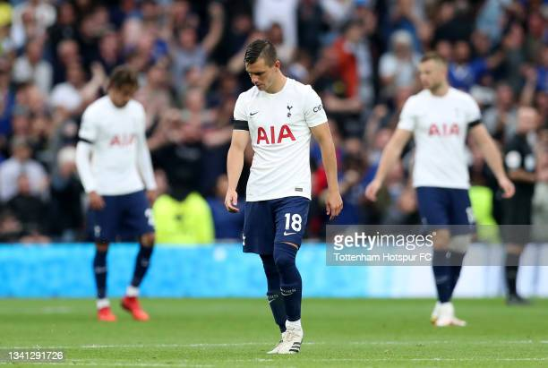 Giovani Lo Celso of Tottenham Hotspur reacts after their side concedes their first goal during the Premier League match between Tottenham Hotspur and...