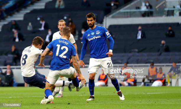 Giovani Lo Celso of Tottenham Hotspur scores his teams first goal during the Premier League match between Tottenham Hotspur and Everton FC at...