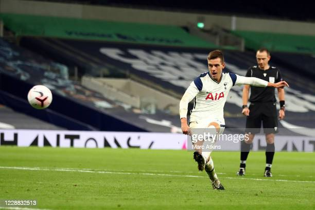 Giovani Lo Celso of Tottenham Hotspur scores their 3rd goal during the UEFA Europa League playoff match between Tottenham Hotspur and Maccabi Haifa...
