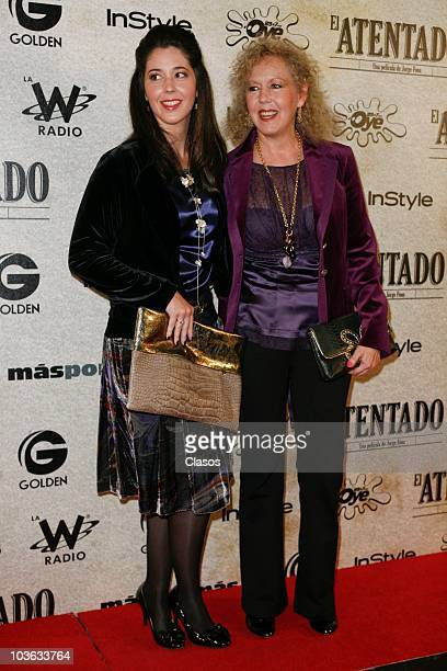 Giovanna Acha and Mercedes Aleman pose for a photo at the red carpet of the premiere of the movie El Atentado at Teatro Metropolitan on August 24...