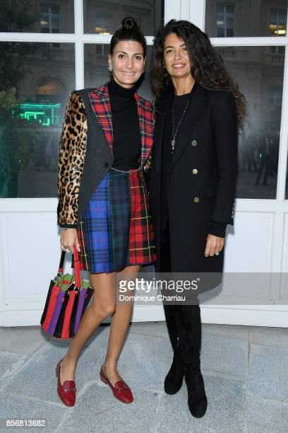 Giovanna Battaglia and Afef Jnifen attend the Fashion Tech Lab Launch Event Hosted By Miroslova Duma And Stella McCartney as part of Paris Fashion...