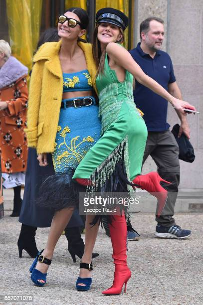 Giovanna Battaglia and Anna Dello Russo are seen arriving at Miu Miu show during Paris Fashion Week Womenswear Spring/Summer 2018 on October 3 2017...
