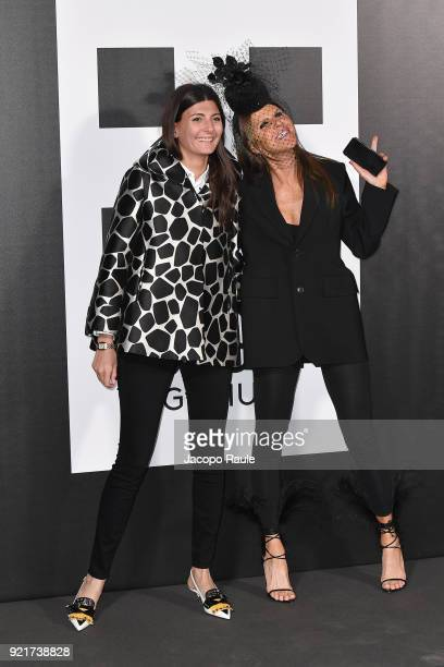 Giovanna Battaglia and Anna Dello Russo are seen at the Moncler Genius event during Milan Fashion Week Fall/Winter 2018/19 on February 20 2018 in...