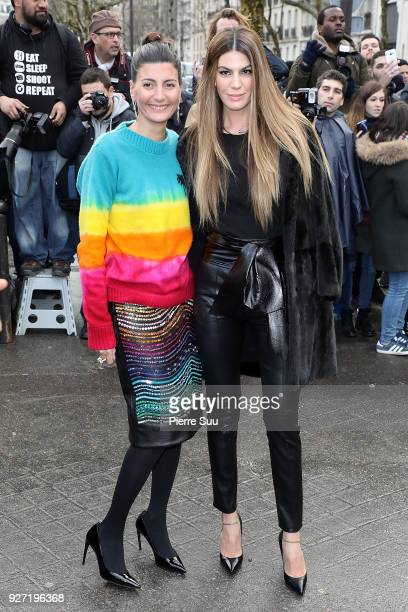 Giovanna Battaglia and Bianca Brandolini d'Adda arrive at the Valentino show as part of the Paris Fashion Week Womenswear Fall/Winter 2018/2019 on...