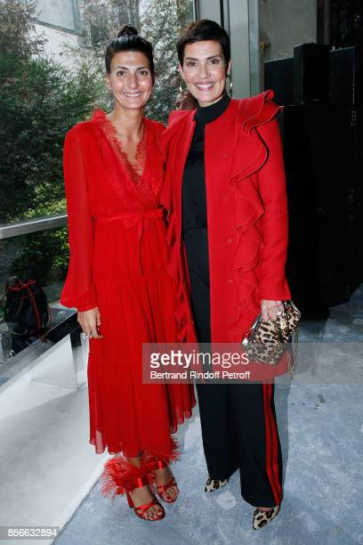 Giovanna Battaglia and Cristina Cordula attend the Giambattista Valli show as part of the Paris Fashion Week Womenswear Spring/Summer 2018 on October...