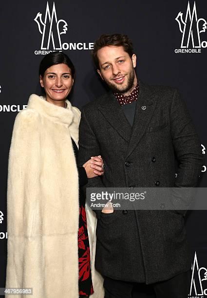 Giovanna Battaglia and Derek Blasberg attend the Moncler Grenoble Fall 2014 Presentation at the Hammerstein Ballroom on February 8 2014 in New York...