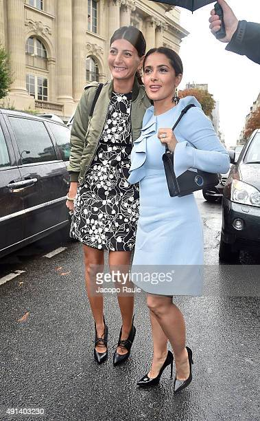 Giovanna Battaglia and Salma Hayek arrive at Giambattista Valli Fashion Show during the Paris Fashion Week S/S 2016 Day Seven on October 5 2015 in...