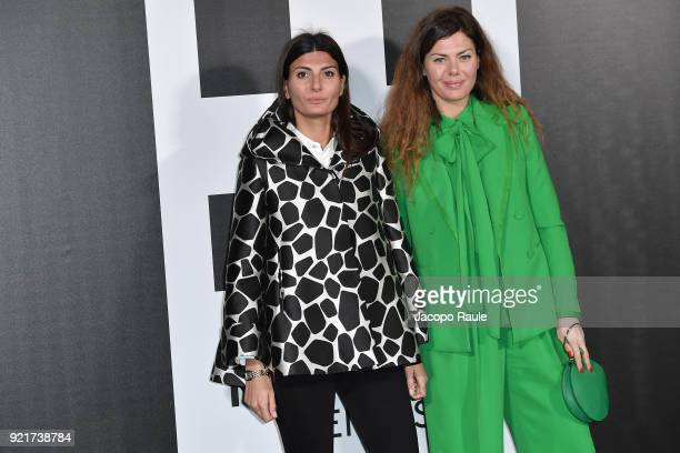 Giovanna Battaglia and Sara Battaglia are seen at the Moncler Genius event during Milan Fashion Week Fall/Winter 2018/19 on February 20 2018 in Milan...