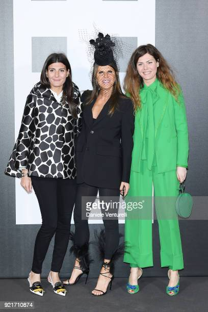 Giovanna Battaglia Anna Dello Russo and guest attends Moncler Genius during Milan Fashion Week on February 20 2018 in Milan Italy