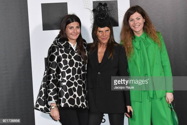 Giovanna Battaglia Anna Dello Russo and Sara Battaglia are seen at the Moncler Genius event during Milan Fashion Week Fall/Winter 2018/19 on February...