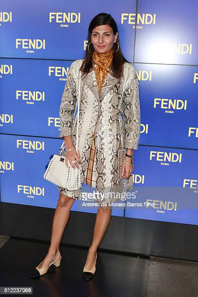 Giovanna Battaglia arrends the Fendi show during Milan Fashion Week Fall/Winter 2016/17 on February 25 2016 in Milan Italy