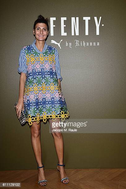 Giovanna Battaglia arrives at FENTY x PUMA by Rihanna at Hotel Salomon de Rothschild on September 28 2016 in Paris France