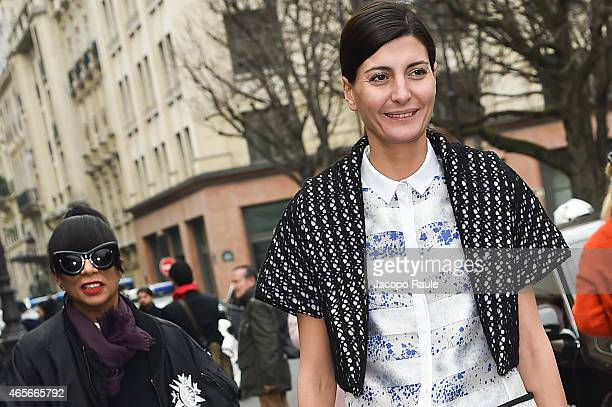 Giovanna Battaglia arrives at Giambattista Valli Fashion Show during Paris Fashion Week Fall Winter 2015/2016 on March 9 2015 in Paris France