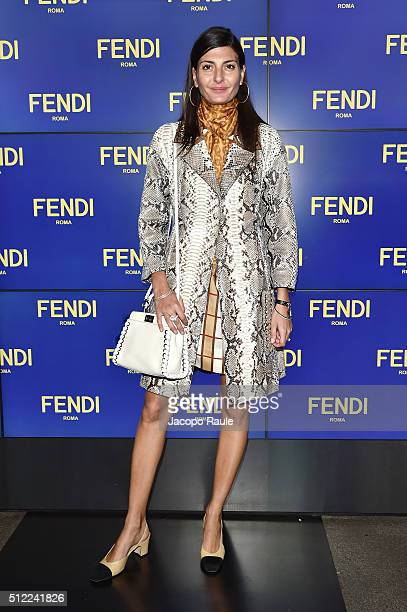 Giovanna Battaglia arrives at the Fendi show during Milan Fashion Week Fall/Winter 2016/17 on February 25 2016 in Milan Italy