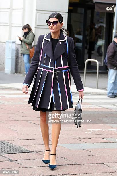 Giovanna Battaglia arrives to Gucci show during Milan Fashion Week 2015 on February 25 , 2015 in Milan, Italy.