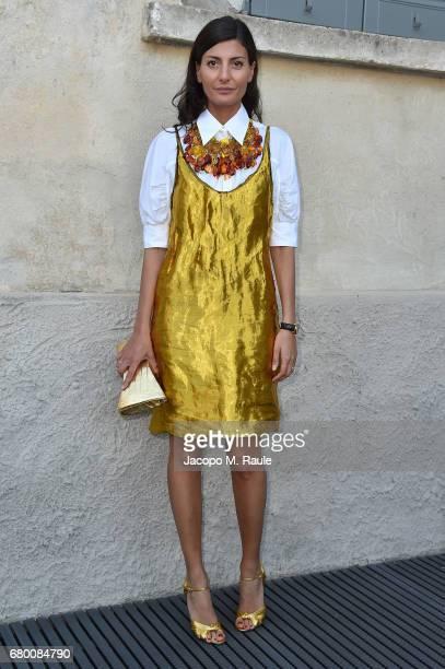 Giovanna Battaglia attends a 'Private view of 'TV 70 Francesco Vezzoli Guarda La Rai' at Fondazione Prada on May 7 2017 in Milan Italy