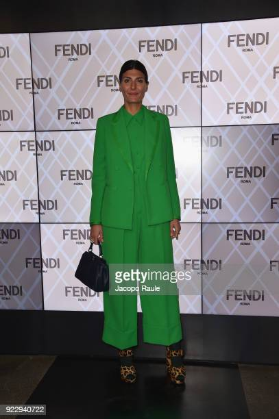 Giovanna Battaglia attends the Fendi show during Milan Fashion Week Fall/Winter 2018/19 on February 22 2018 in Milan Italy