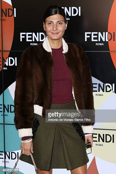 Giovanna Battaglia attends the Fendi show during the Milan Fashion Week Autumn/Winter 2015 on February 26 2015 in Milan Italy